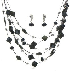 DESARAE Black Wire Smoke and Grey Necklace Set with Clip On Earrings