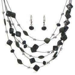 DESARAE Black Wire Smoke and Grey Necklace Set with Hook Earrings