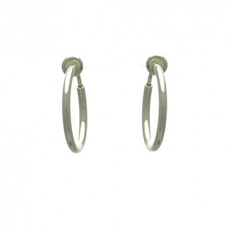 Cerceau 17mm Silver Plated Hoop Clip On Earrings