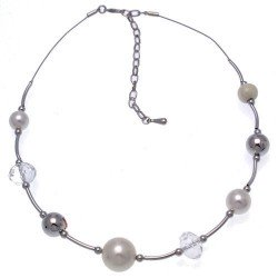 Justise Silver tone faux Pearl Crystal Choker Necklace