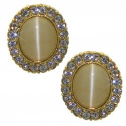 ABBY Gold Plated Crystal and Opaline Clip On Earrings