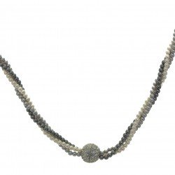 NYX Grey and White triple Strand Magnetic clasp Choker Necklace by Rodney