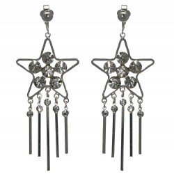 DUNIYA Silver plated Crystal Star Clip On Earrings