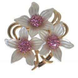 ANDROSACE Gold tone White Pink Scarf Clip / Brooch