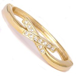 Babs Gold tone Crystal Bangle