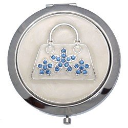 MADAM Silver tone Blue Crystal Handbag Double Mirror Compact