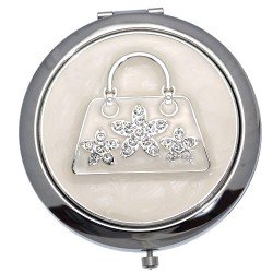 MADAM Silver tone Clear Crystal Handbag Double Mirror Compact