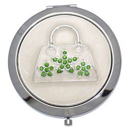 MADAM Silver tone Green Crystal Handbag Double Mirror Compact