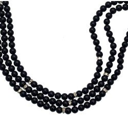 OLIVANA Silver tone Black Bead Choker Necklace