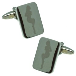 Bond Silver tone Lady Cufflinks