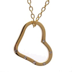 Benora Gold tone Crystal Heart Pendant Necklace