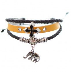Alice Yellow and Brown Leather Thong Bracelet