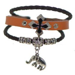 ALICE Brown and Black Leather Thong Bracelet