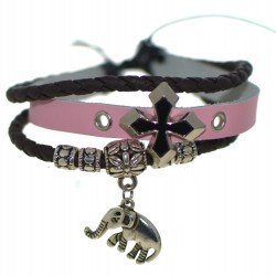 ALICE Pink and Brown Leather Thong Bracelet