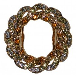 BLOSSOM Gold tone Champagne Crystal Scarf Clip / Brooch