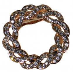 BLOSSOM Gold tone Clear Crystal Scarf Clip / Brooch