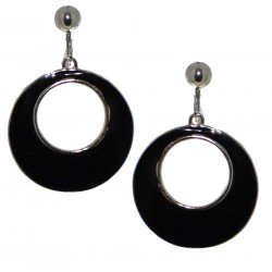 ABITAL Silver Black Hoop Clip On Earrings