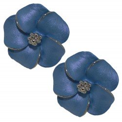 APRONIA silver plated cornflower Clip on earrings by Rodney