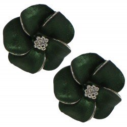 APRONIA silver plated green Clip on earrings by Rodney