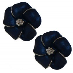 APRONIA silver plated navy clip on earrings by Rodney