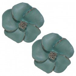APRONIA silver plated light blue clip on earrings by Rodney