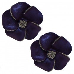 APRONIA silver plated purple clip on earrings by Rodney