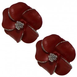 APRONIA silver plated red clip on earrings by Rodney