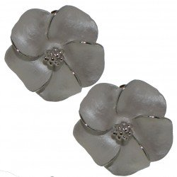 APRONIA silver plated white clip on earrings by Rodney