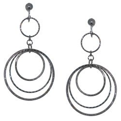 AEDNAT Silver plated Crystal Triple Hoop Clip On Earrings