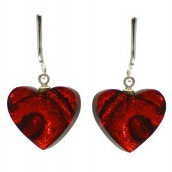 HEART SWIRL silver plated and resin hand made red clip on earrings by TORA