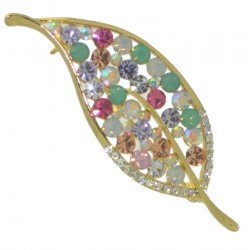 AGATHA gold tone multi coloured crystal leaf brooch