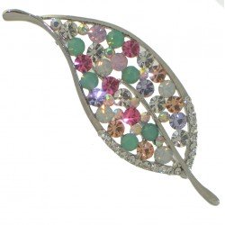 AGATHA silver tone multi coloured crystal leaf brooch