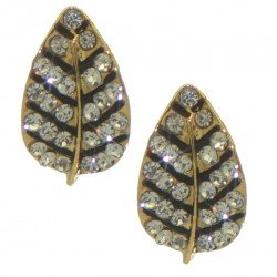 BARBEL gold plated crystal leaf clip on earrings