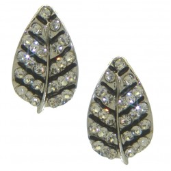 BARBEL silver plated crystal leaf clip on earrings