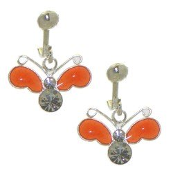 YOUNG'UNS BUTTERFLY sterling silver orange clip on earrings