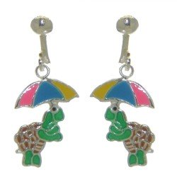 YOUNG'UNS TURTLE sterling silver multi coloured clip on earrings