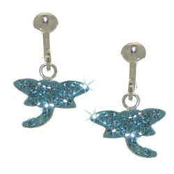 YOUNG'UNS DRAGONFLY sterling silver aqua blue clip on earrings