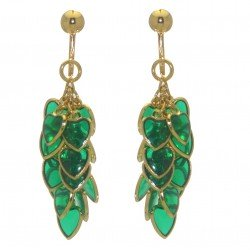 CROI ALAINN gold plated green hearts clip on earrings