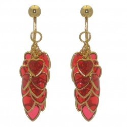 CROI ALAINN gold plated red multiple hearts clip on earrings