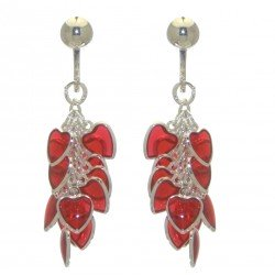 CROI ALAINN silver plated red hearts clip on earrings