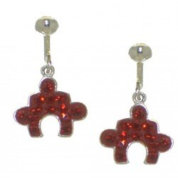 YOUNG'UNS JIGSAW red crystal clip on earrings