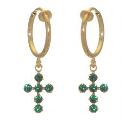 LA CROIX CERCEAU gold plated Emerald green crystal cross clip on earrings