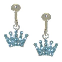 YOUNG'UNS CROWN aquamarine crystal clip on earrings