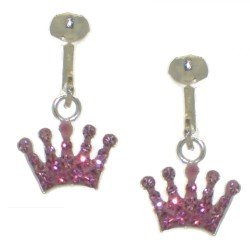 YOUNG'UNS CROWN pink crystal clip on earrings