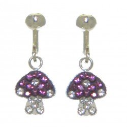 YOUNG'UNS MUSHROOM sterling silver crystal clip on earrings