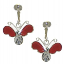 YOUNG'UNS BUTTERFLY sterling silver red clip on earrings
