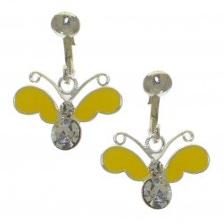 YOUNG'UNS BUTTERFLY sterling silver yellow clip on earrings