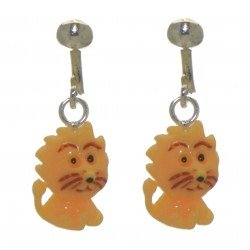 YOUNG'UNS LION sterling silver and resin clip on earrings