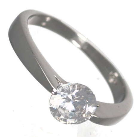Hyatt Sterling Silver Cubic Zirconium Solitaire Ring size P