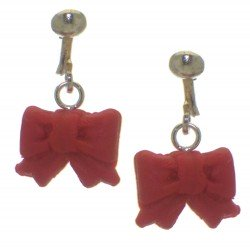 YOUNG'UNS BOW sterling silver and resin clip on earrings